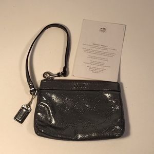 Coach Bags - Coach Perforated Logo Silver Wristlet